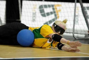 Australian Paralympian Jenny Blow Blocks the ball at the London Paralympics